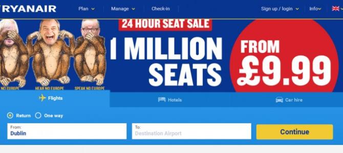 Большая распродажа Ryanair: 1млн билетов от 9,99€!